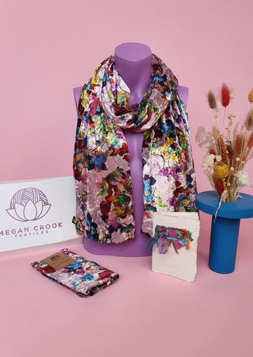 Velvet Scarf & Wrist Warmers Set in Multi Floral