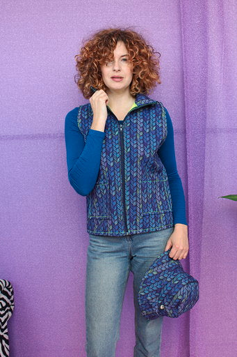Gilet in Digital Blue Knit Print