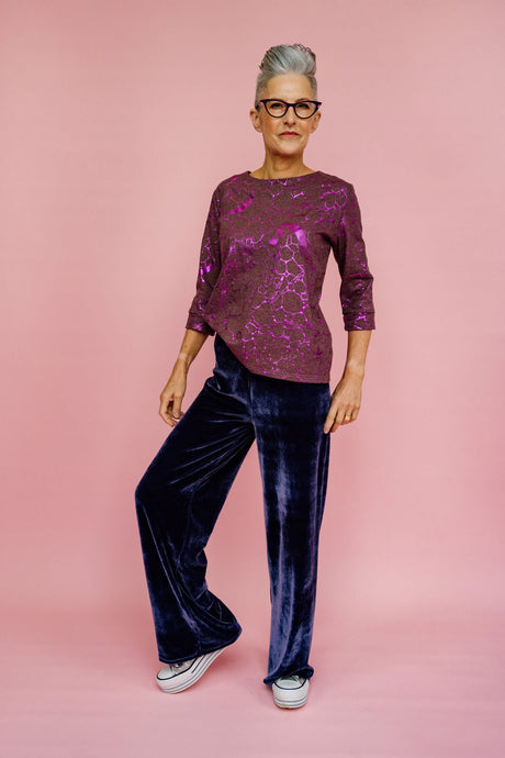 3/4 Sleeve Top in Purple Foil Print