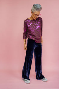 High Waisted Straight Leg Velvet Trousers- Lavender Grey