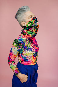 Jersey Snood in Rainbow Watercolour Jersey