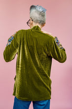Load image into Gallery viewer, Velvet Jacket in Olive Green with Embellished Cuffs