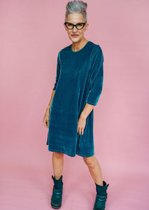 Velvet Swing Dress in Sage
