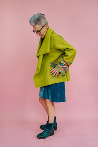 Embellished Wool Coat in Lime Green
