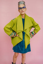 Load image into Gallery viewer, Embellished Wool Coat in Lime Green