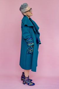 Embellished Wool Coat in Teal