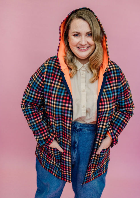 Rain Coat in Digital Plaid Print