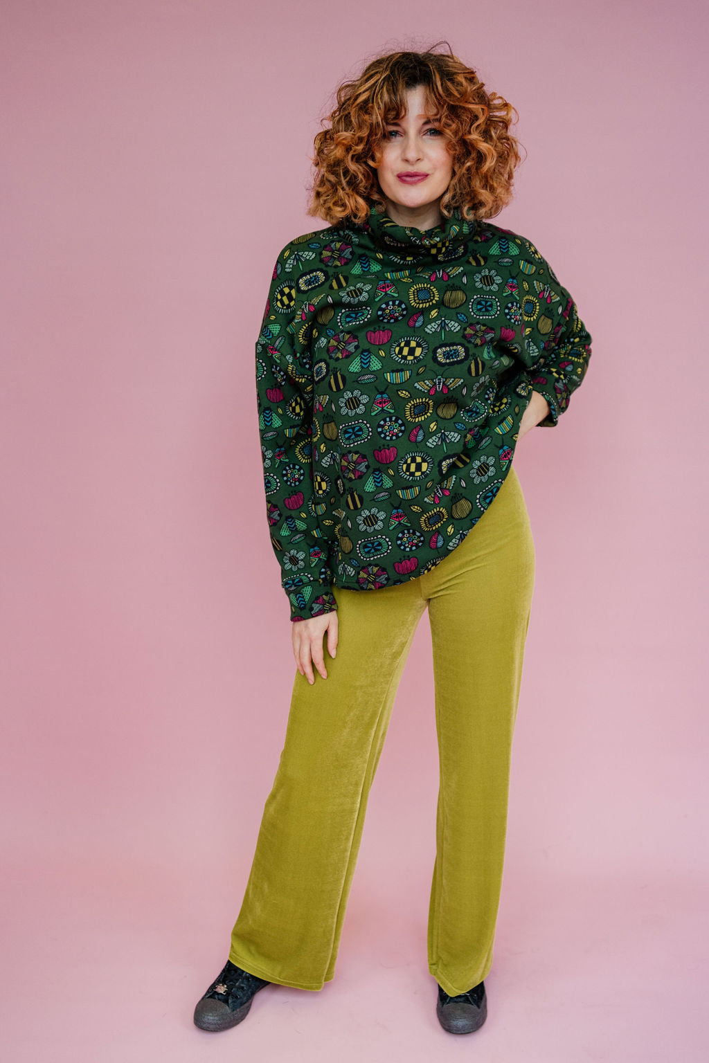 High Waisted Straight Leg Velvet Trousers- Lime Green