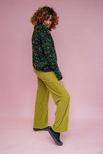 Load image into Gallery viewer, High Waisted Straight Leg Velvet Trousers- Lime Green