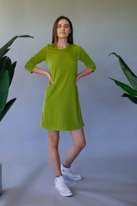 Lime Green Velvet Swing Dress - Dress - Megan Crook