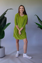 Load image into Gallery viewer, Lime Green Velvet Swing Dress - Dress - Megan Crook