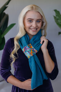 Embellished Pull Through Scarf in Aqua Blue - Scarf - Megan Crook