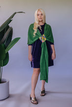 Load image into Gallery viewer, Lambs Wool Embellished Wrap - Clover Green - Accessories - Megan Crook