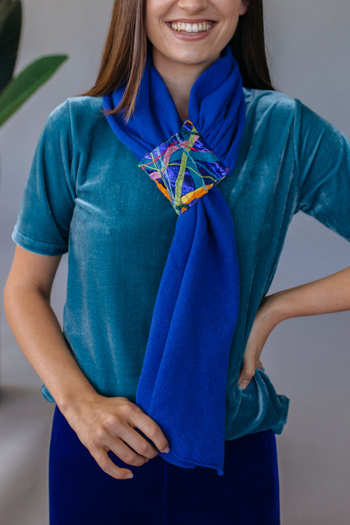 Embellished Pull Through Scarf in Royal Blue - Scarf - Megan Crook