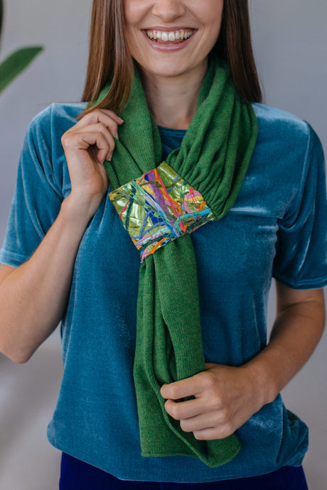 Embellished Pull Through Scarf in Clover Green - Scarf - Megan Crook