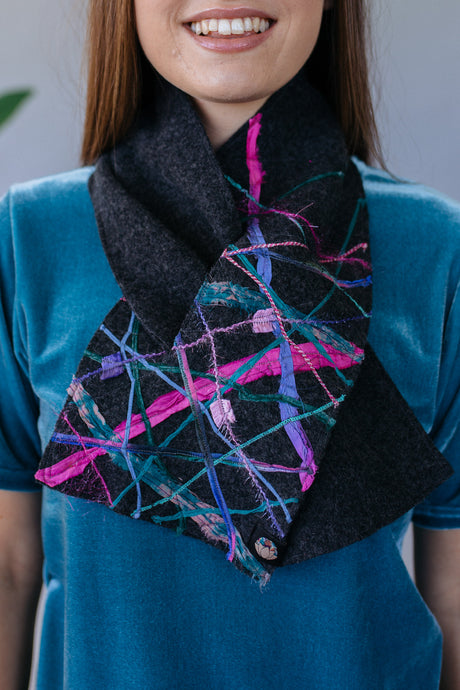 Embellished Lambswool Neck Wrap in Charcoal - Scarf - Megan Crook