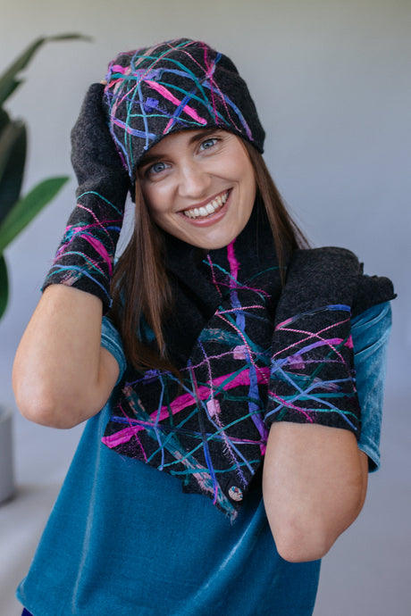 Lambs wool Embellished Hand Warmers - Charcoal - Mittens - Megan Crook
