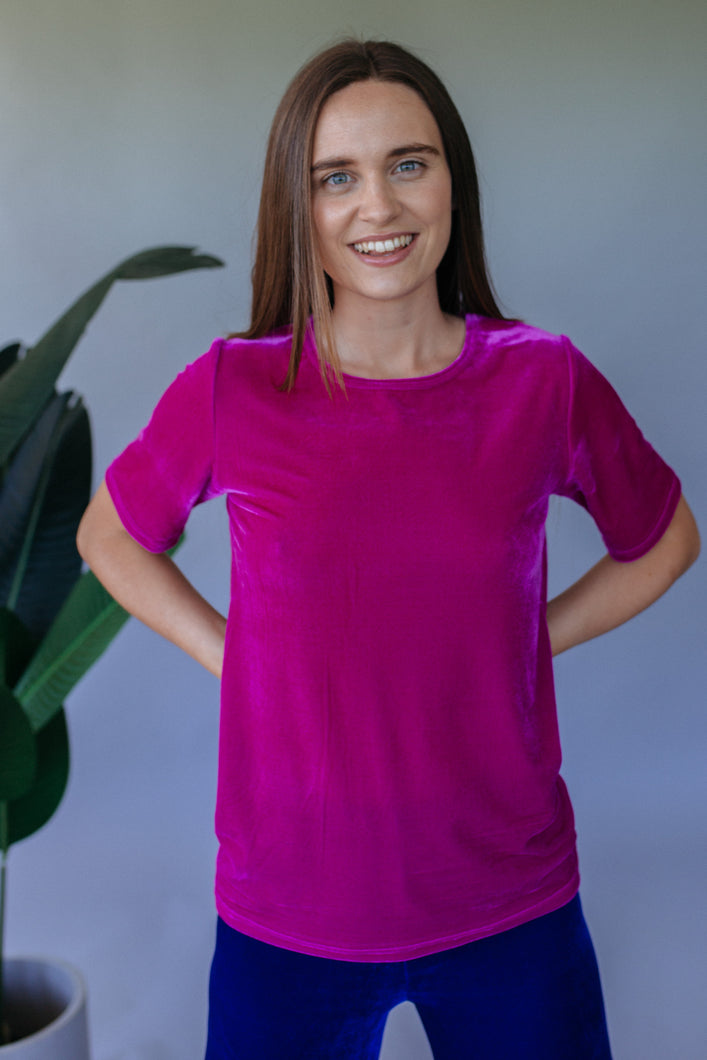 Magenta Velvet easy Fit Tee - Top - Megan Crook