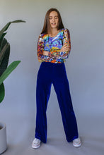 Load image into Gallery viewer, High Waisted Straight Leg Velvet Trousers- Royal Blue - Trouser - Megan Crook