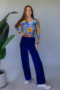 High Waisted Straight Leg Velvet Trousers- Royal Blue - Trouser - Megan Crook