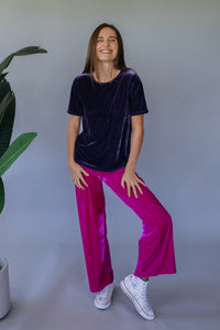 High Waisted Straight Leg Velvet Trousers- Magenta - Trouser - Megan Crook