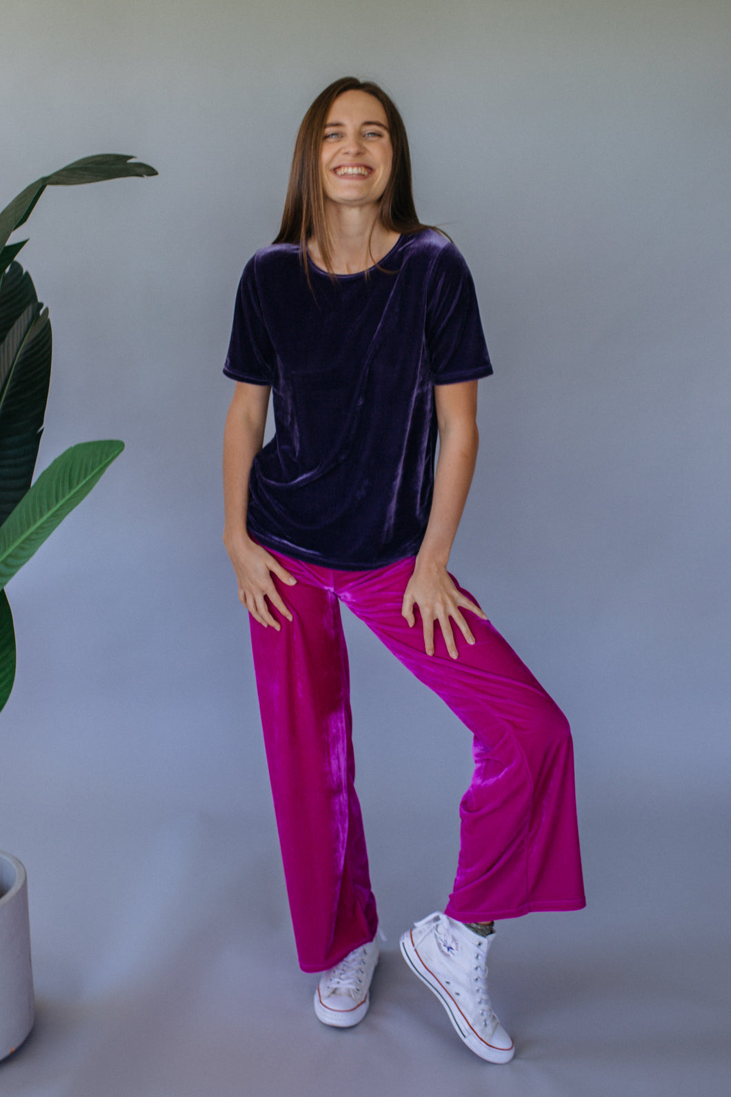 Lavender Grey Velvet easy Fit Tee - Top - Megan Crook