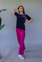 Load image into Gallery viewer, High Waisted Straight Leg Velvet Trousers- Magenta - Trouser - Megan Crook