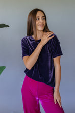 Load image into Gallery viewer, Lavender Grey Velvet easy Fit Tee - Top - Megan Crook