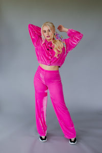 High Waisted Straight Leg Velvet Trousers- Bubblegum Pink - Trouser - Megan Crook