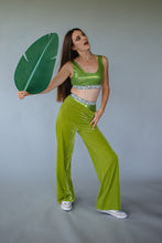 Load image into Gallery viewer, High Waisted Straight Leg Velvet Trousers- Lime Green - Trouser - Megan Crook