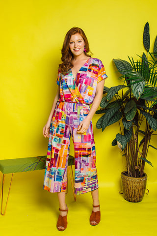 Wrap Front Jumpsuit in Stained Glass Digital Print Jersey (MCT)