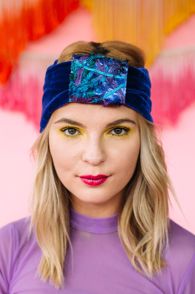 Embellished Velvet Headband in Lapis Blue - Accessories - Megan Crook