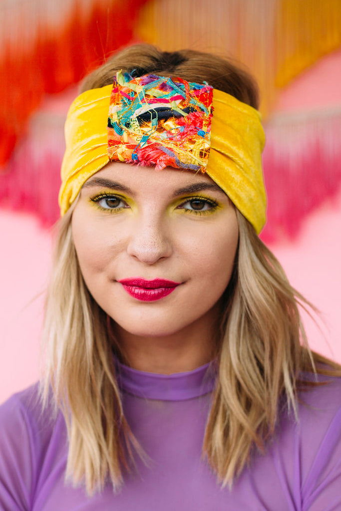 Embellished Velvet Turban in Yellow - Accessories - Megan Crook