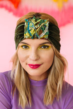 Load image into Gallery viewer, Embellished Velvet Headband in Khaki Green - Accessories - Megan Crook