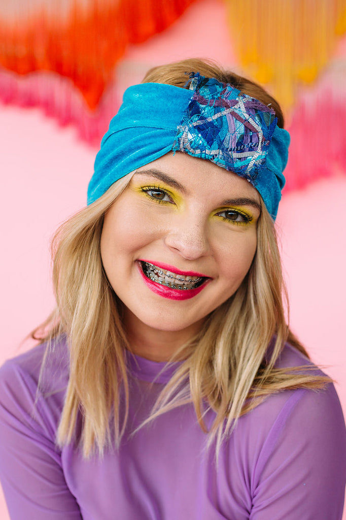 Embellished Velvet Turban in Blue - Accessories - Megan Crook