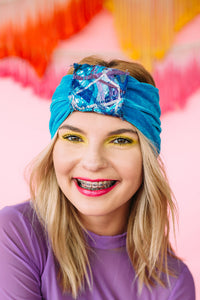Embellished Velvet Headband in Blue - Accessories - Megan Crook