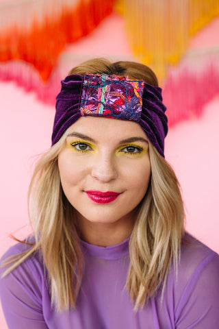 Embellished Velvet Turban in Purple