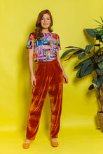 Load image into Gallery viewer, High Waisted Pleated Velvet Trousers- Orange - Trouser - Megan Crook