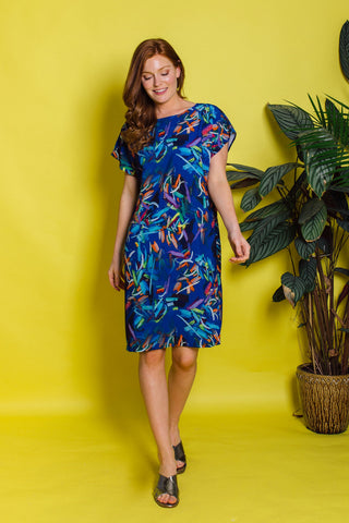 Shift Dress in Blue Abstract Print
