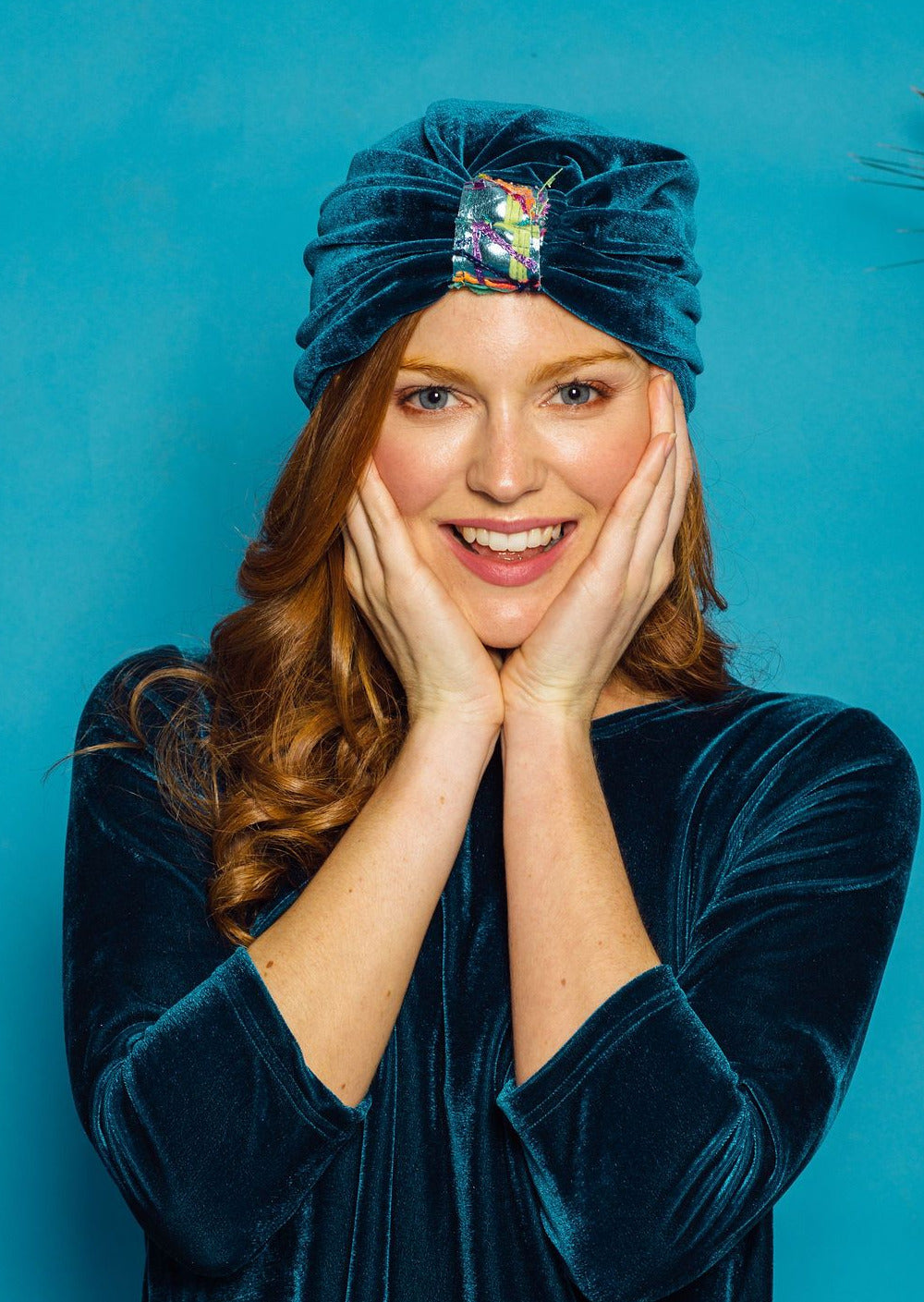 Embellished Velvet Turban in Teal - Accessories - Megan Crook