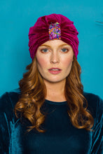 Load image into Gallery viewer, Embellished Velvet Turban in Berry - Accessories - Megan Crook