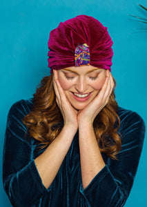 Embellished Velvet Turban in Berry - Accessories - Megan Crook