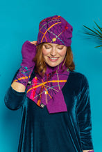 Load image into Gallery viewer, Embellished Lambswool Neck Wrap in Royal Purple - Scarf - Megan Crook