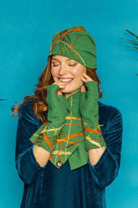 Embellished Lambswool Neck Wrap in Clover Green - Scarf - Megan Crook