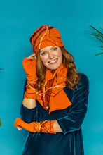 Load image into Gallery viewer, Embellished Lambswool Neck Wrap in Orange - Scarf - Megan Crook