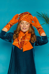 Lambs Wool Embellished Cloche Hat - Tangerine - Accessories - Megan Crook