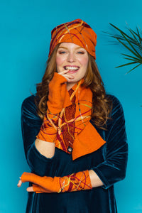 Lambs wool Embellished Hand Warmers - Tangerine - Mittens - Megan Crook