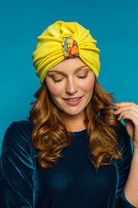 Embellished Velvet Turban in Sunflower Yellow - Accessories - Megan Crook
