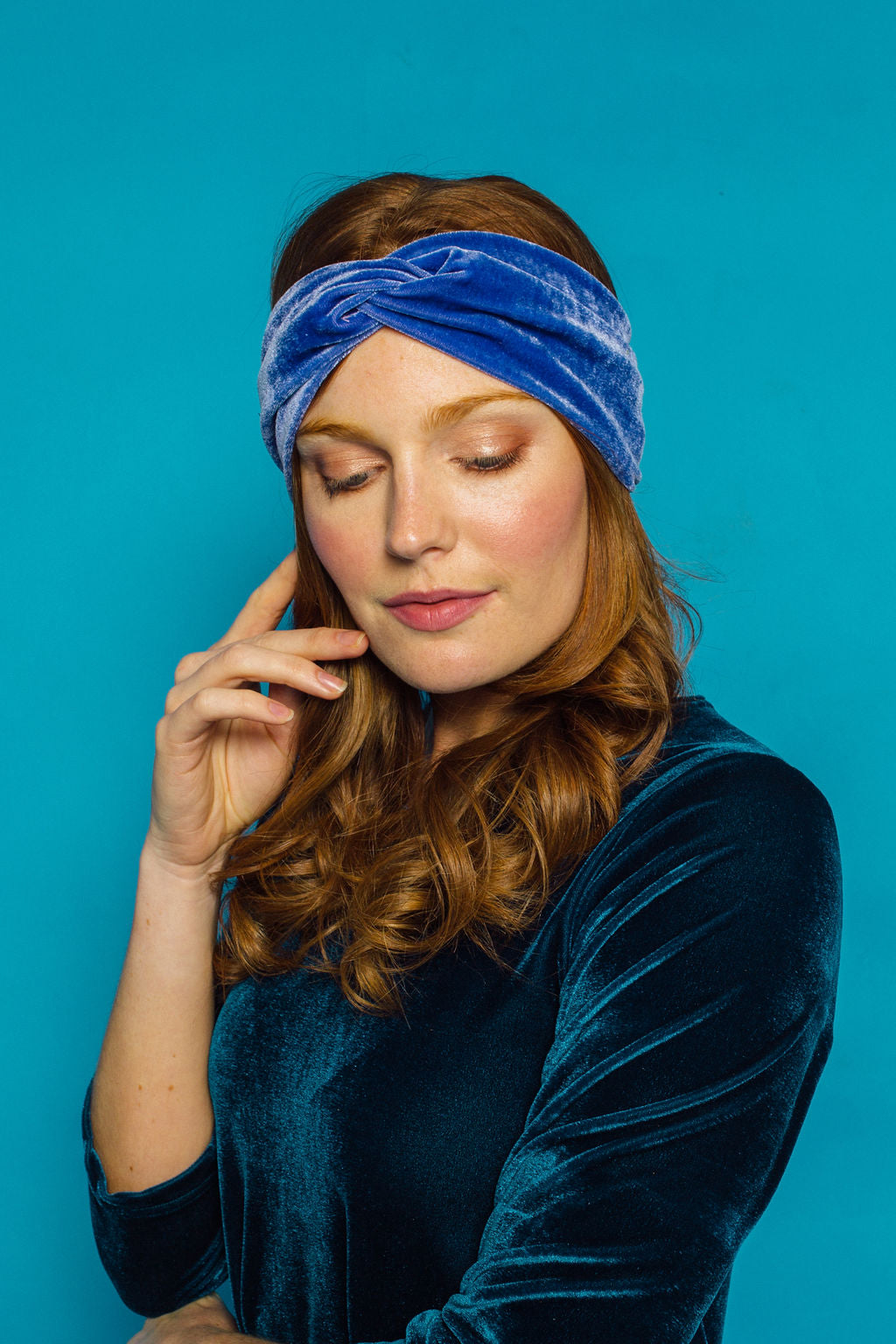 Velvet Headband in Cornflower Blue - Accessories - Megan Crook