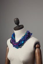 Load image into Gallery viewer, Silk Yarn Necklace in Black and Purple - Necklace - Megan Crook